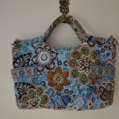 Vera Bradley Small Tote Blue Flowers 8.5 x 13 100% Cotton Bag Handbag