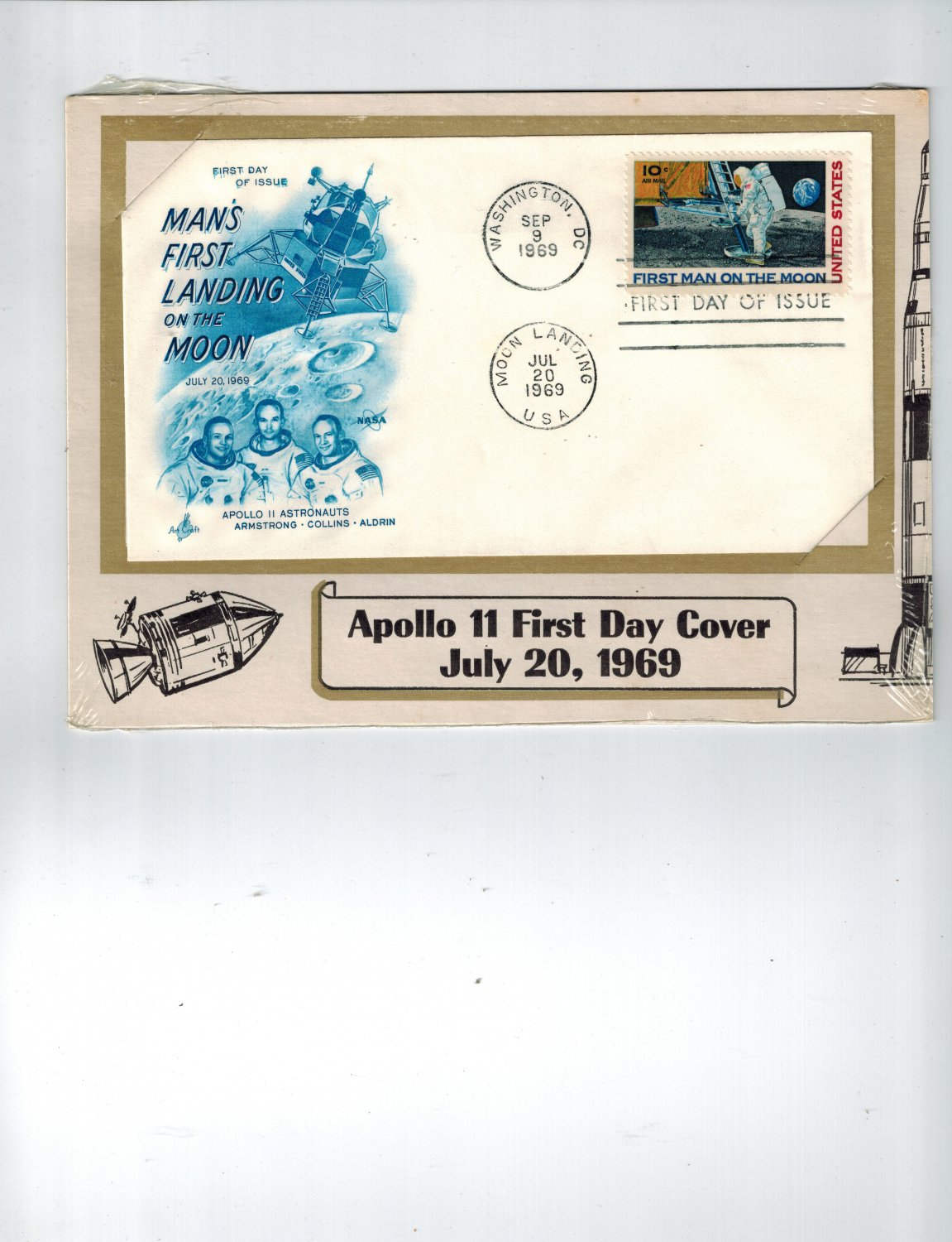 APOLLO 11 FIRST MAN ON THE MOON Stamp Dual FDC C76 First Day Cover On Card