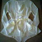 Misses White Wrap Jacket with Tie and Flounces on Sleeves and Front Edges - Size Medium