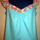 Misses Blue Cami with Flounce Sleeves and Floral Trim
