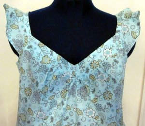 Misses Aqua Blue Floral Cami with Founce Sleeves