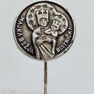 Black Madonna Croatia, holy vintage Catholic pin, badge Marija Bistrica 1970s !