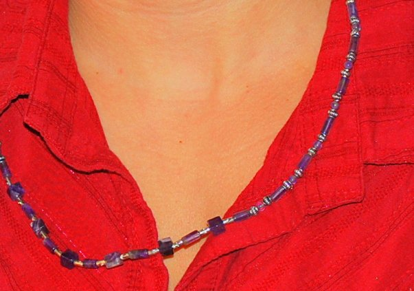 Amethyst tube necklace