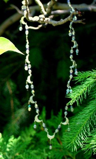silver halfmoon and crystal necklace