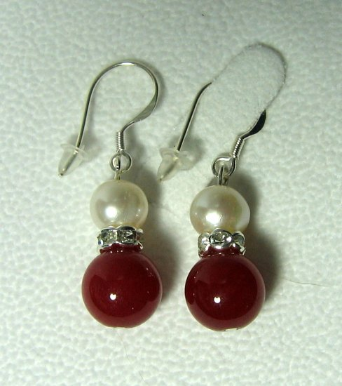 Genuine Cultured Pearl & Red Jade Bead Dangle Earrings