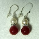Genuine Cultured Pearl & Red Jade Bead Dangle Earrings