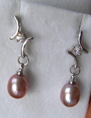 Pink Purple Mauve Pearl Dangle Sterling Silver Earrings FREE SHIPPING