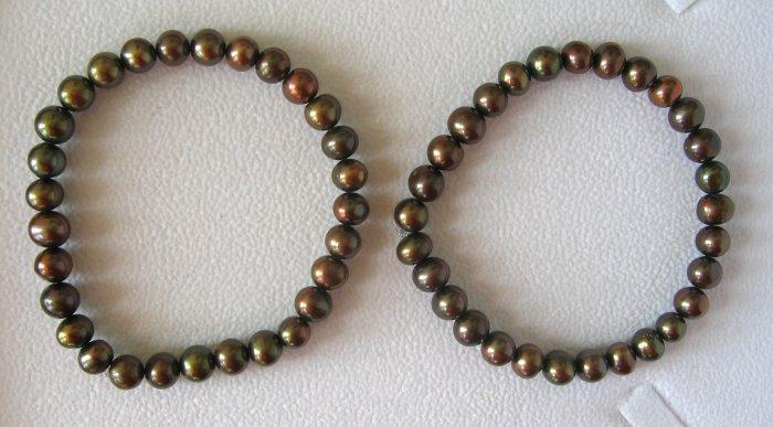 Freshwater Chocolate Pearl Stretch Bracelets