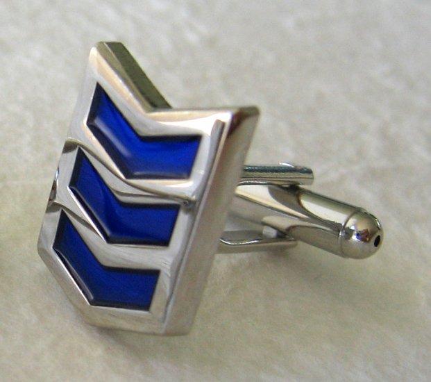 Sapphire Blue Enamel Silver Tone Cufflinks