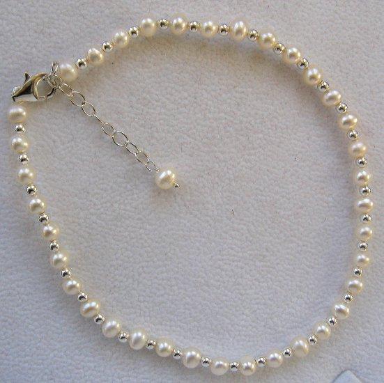 "Cultured Pearl & Sterling Silver 10""-12"" Ankle Bracelet"
