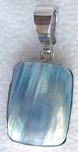 Blue Mabe Pearl Sterling Silver Pendant Enhancer