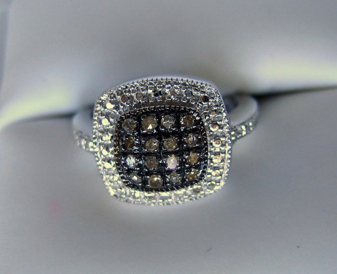 .20 CT Brown Diamond Ring - Pave Detail Design Sz7