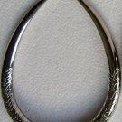 Silver Tone Oval Hoop Earrings Engraved Wheat Design