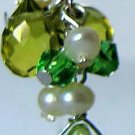 Cultured Pearl and Green Crystal Dangle Earrings 2.75""