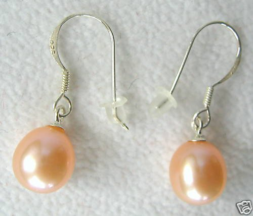 8-9mm Pink Freshwater Pearl Dangle Earrings