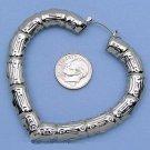 Antique Finish Silver Heart Hoop Bali Design Earrings