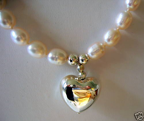 White Cultured Pearl Necklace with Silver Heart Pendant