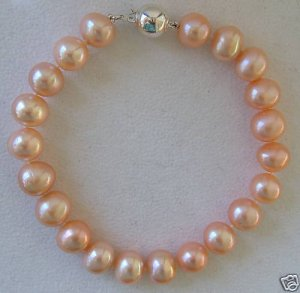 "9.5"" Pink Cultured Pearl Bracelet - 11-12mm Pearls!"