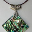 Paua Abalone Shell Pendant and Colored Wire Necklace