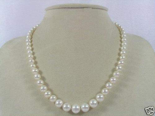 Genuine White Pearl Necklace Earrings Bracelet Set