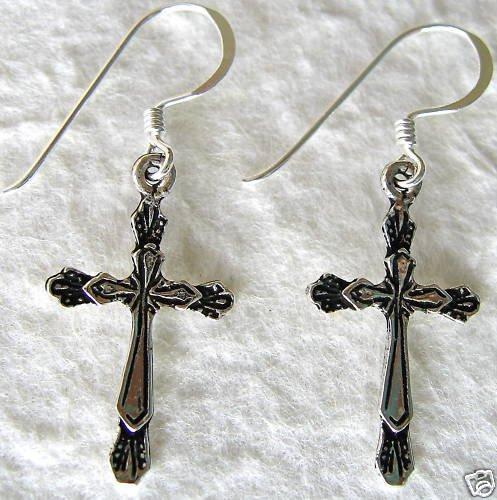 Sterling Silver Holy Cross Dangle Earrings