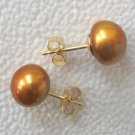 9M CULTURED GOLDEN Brown PEARL 14KY GOLD EARRINGS