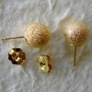 14k Solid Gold Earrings - 8mm Ball Lazer Cut