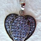 2.20 Ct Tanzanite Sterling Silver 925 Heart Pendant