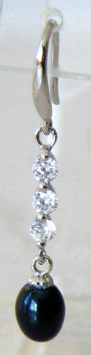 Sterling Silver 925 Black Pearl Dangle Earrings 6-7mm