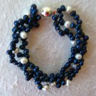 3-Strand Twisted Blue and White Pearl Bracelet 7.5""