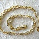 "Italy Sterling Silver & 14k Gold Ankle Bracelet 10"""