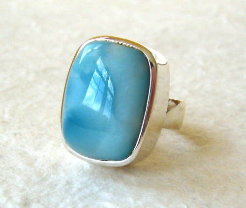 Blue Green Larimar Sterling Silver Ring Size 6