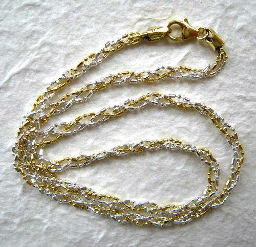 Italy Sterling Silver & 14k Gold Necklace 18""