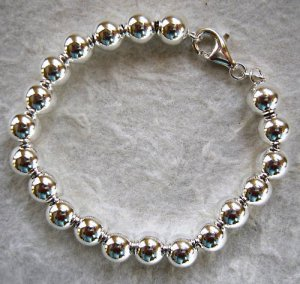 8mm Sterling Silver Bead Bracelet