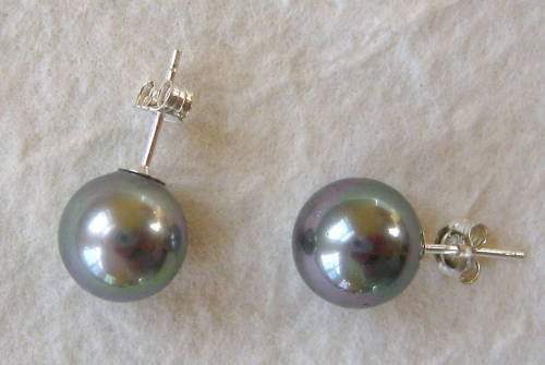 10mm Gray Mother of Pearl Sterling Silver Stud Earrings