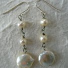Sterling Silver 925 White Coin Pearl Dangle Earrings