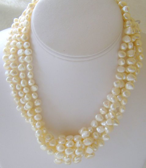 4-Strand Cream Cultured Pearl Sterling Silver Necklace