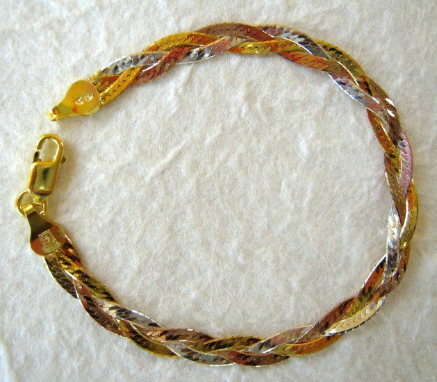 Italy Sterling Silver & Tri-Color Gold Braided Bracelet
