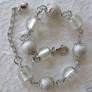 "Clear & Silver Beaded Ankle Bracelet 8-9"""