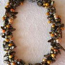 3-Strand Twisted Brown Blister Pearl Necklace 17""