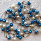 Blue & White Freshwater Pearl Necklace w/18KGP Links