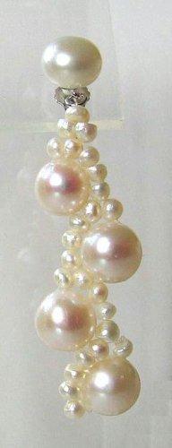 7-7.5mm White Cultured Pearl Dangle Earrings