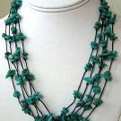 Hand Knotted 5-Strand Apatite Gemstone Necklace