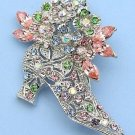 Silver Tone Crystal Flowered Ankle Boot Pin Brooch