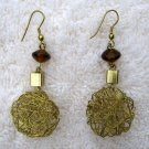 Amber Bead & Woven Antiqued Wire Dangle Earrings