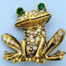 Antiqued Gold Tone Crystal Frog Pin Brooch w/Green Eyes
