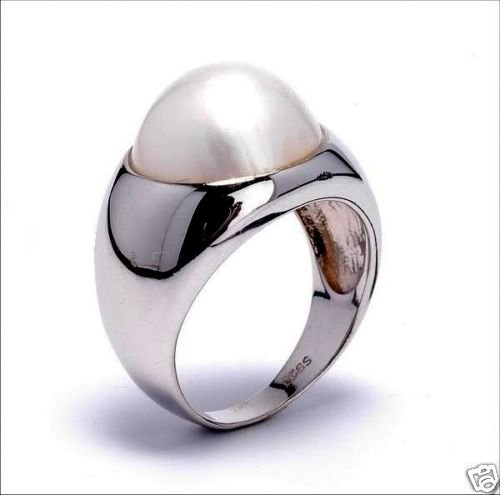 13mm White Mabe Pearl Sterling Silver .925 Ring Size 6