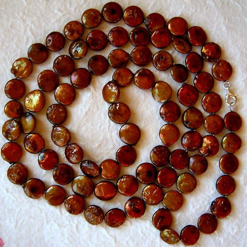 "48"" Designer Brown Coin Pearl Necklace & Earrings"