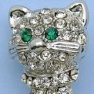 Silver Tone Crystal Cat Pin Brooch w/Green Eyes