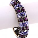 Art Deco Style Fold Over Bangle Bracelet Purple Crystal